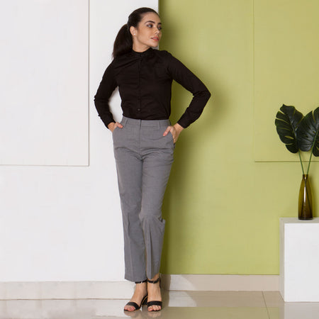Grey Textured Straight Fit Trousers