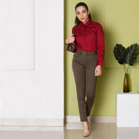 Walnut Brown Slim Fit Formal Trousers