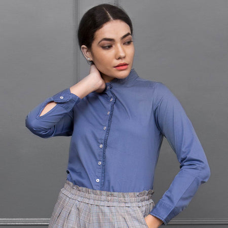 Blue Premium Cotton Ruffled Shirt