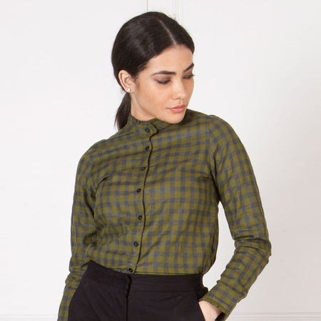 Olive and Grey Checked Ruffle Shirt