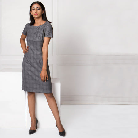 Dark Grey Checked Sheath Dress