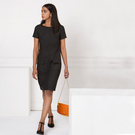 Black Sheath Dress with Pockets