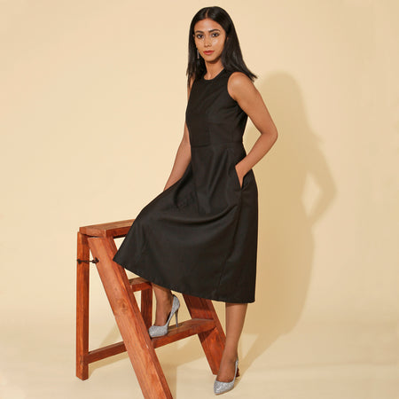 Black Jacquard Desk to Dinner Dress