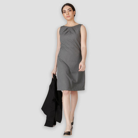 Grey knife Pleat Dress