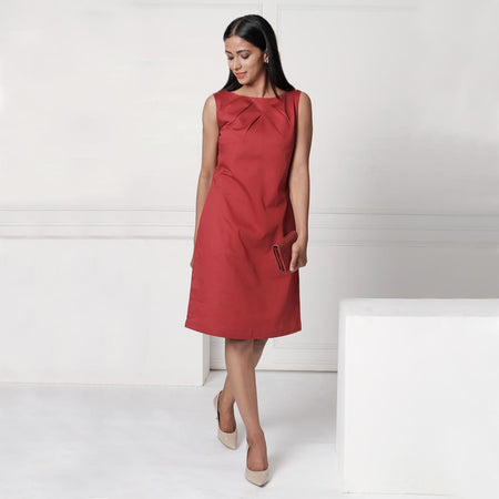 Maroon Knife Pleat Dress