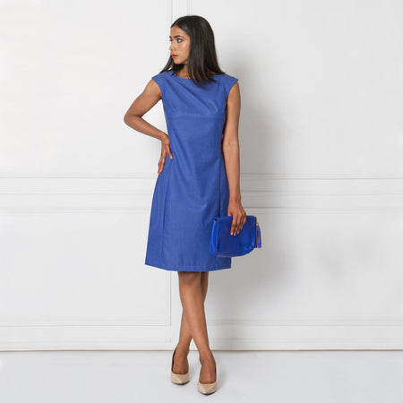 Blue Sleeveless Tailored Formal Dress