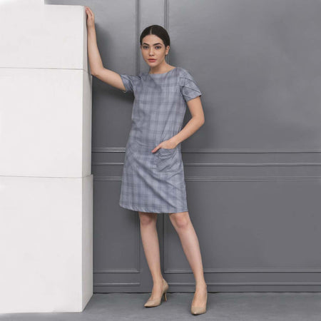 Light Blue Checks Shift Dress