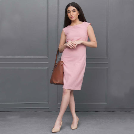 Pink Sleeveless Tailored Formal Dress