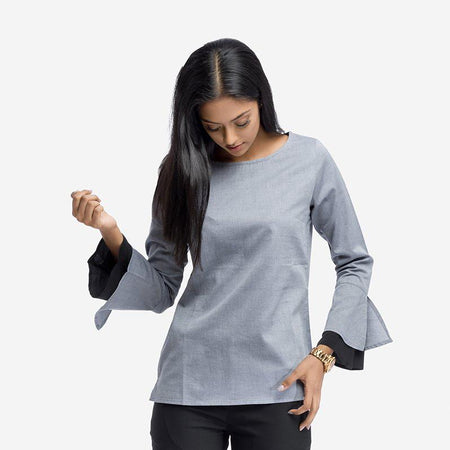 Grey Cotton Top with Volume Sleeves
