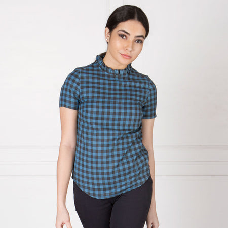 Blue and Grey Checks High Neck Ruffle Top