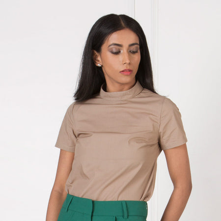 Tan High Neck Top with Neck Fold