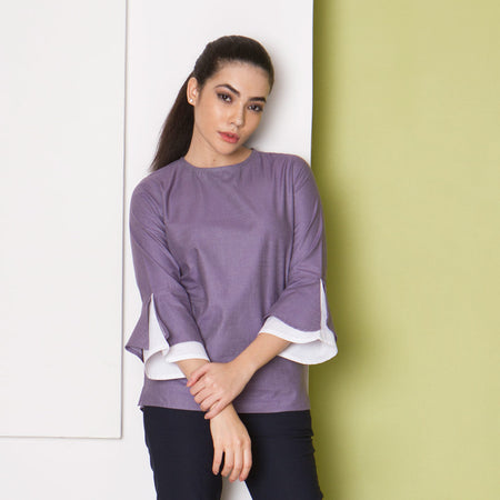 Lavender Cotton Top with Volume Sleeves