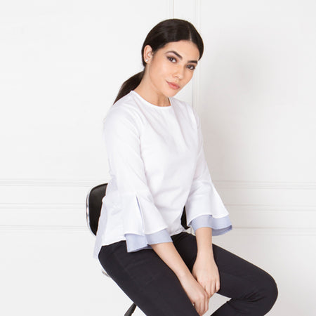 White Cotton Top with Volume Sleeves