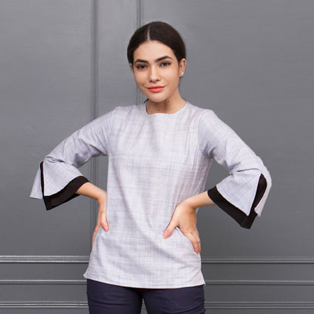 Grey Checks Cotton Top with Volume Sleeves