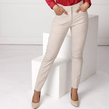 Beige Textured Slim Fit Formal Trousers
