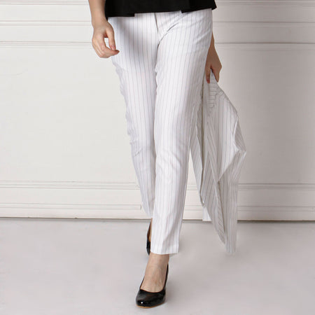 White Slim Fit Trousers with Black Stripes