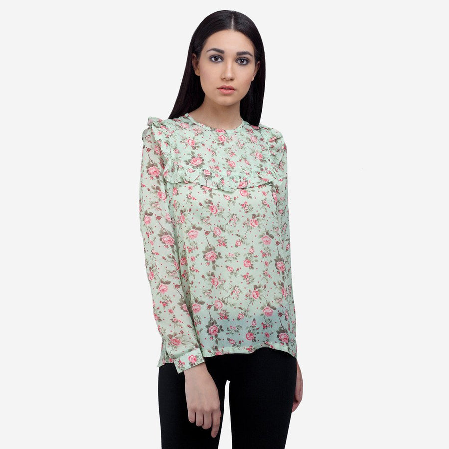 Ombré Lane  Light green Printed silk full sleeve evening wear top with front and back ruffles floral tops boat neck tops checked tops plaid tops formal tops for women black tops for women crop tops for women women tops amazon myntra women tops flipkart women tops tunic tops for women cotton tops for women white tops for women stylish tops for women