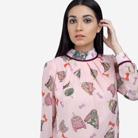Georgette High Neck Pink Smart Casual Top