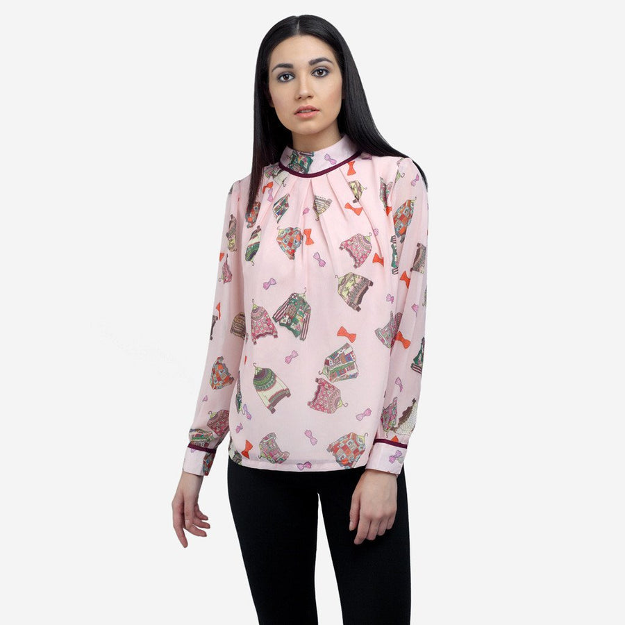 Pink georgette full sleeve work to evening wear top with high neck