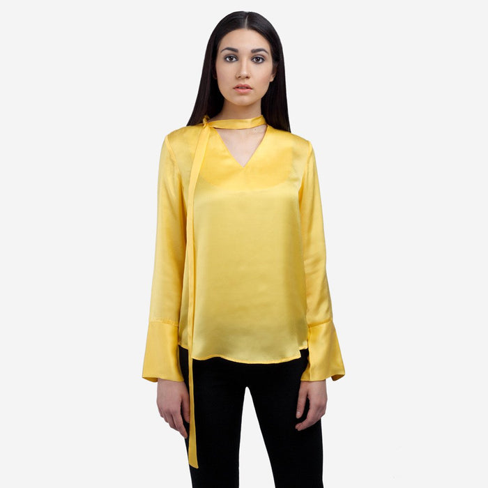 Yellow satin silk full sleeve office and evening wear top with front bow tie