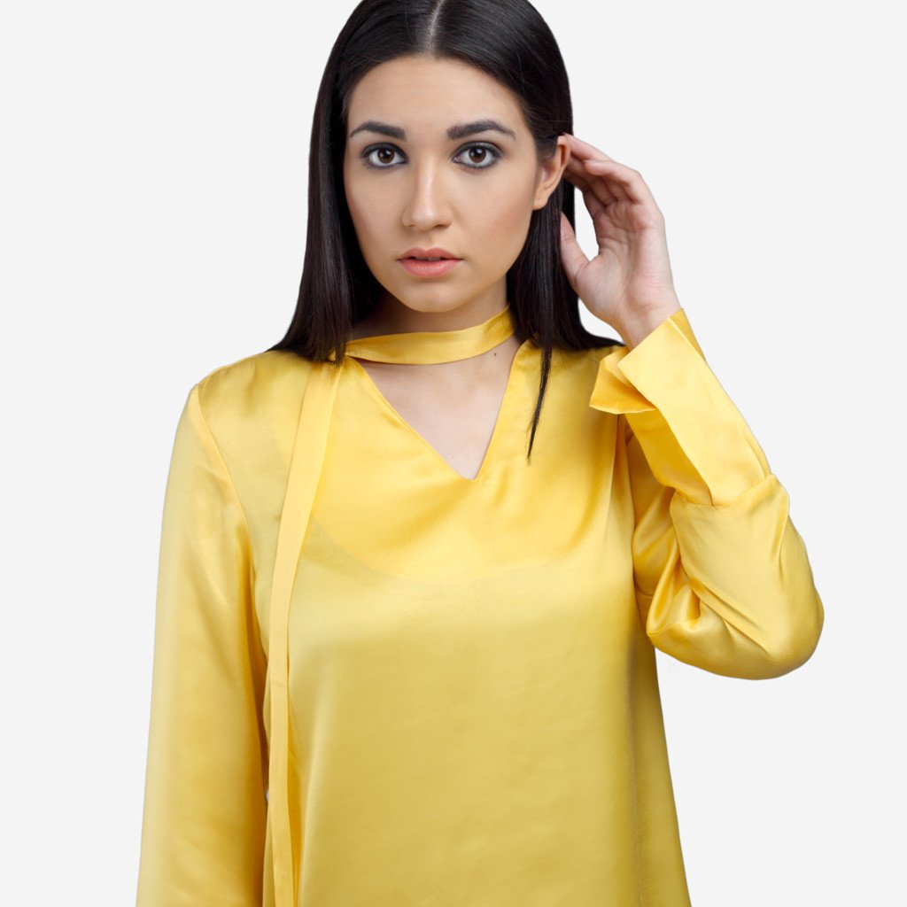 Yellow Satin Bow Tie Top
