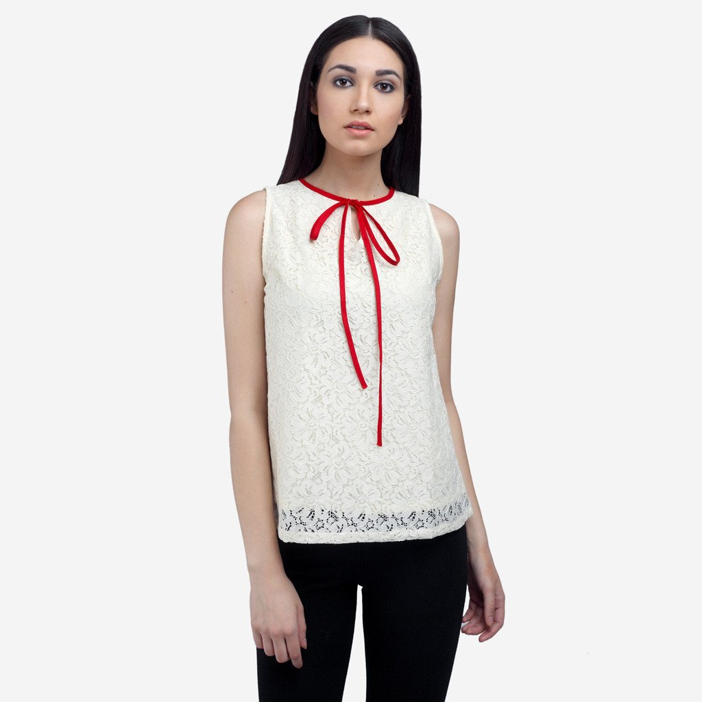 Off-White Lace Sleeveless Top with Bow-tie