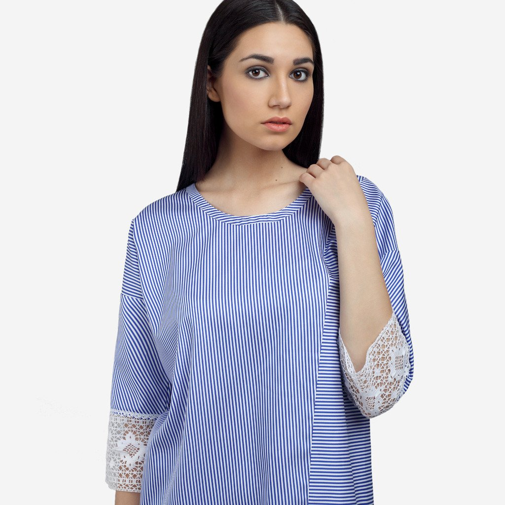 Blue Cotton Striped Loose Fit Long Top with Lace