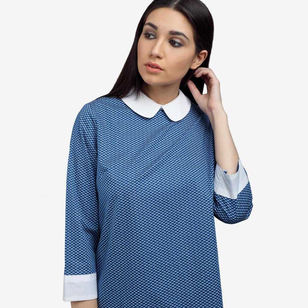 Smart Casual Blue Cotton Work Top