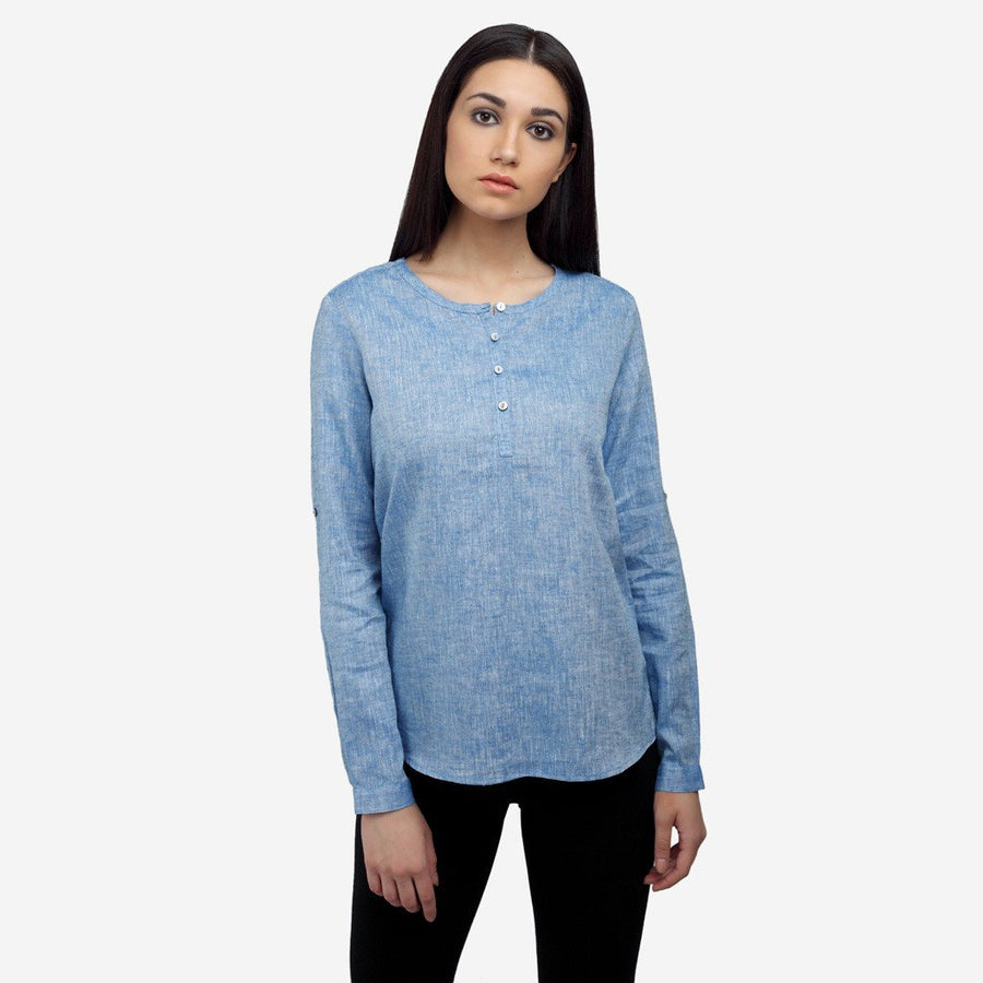 Blue Linen High Low Casual work top for women