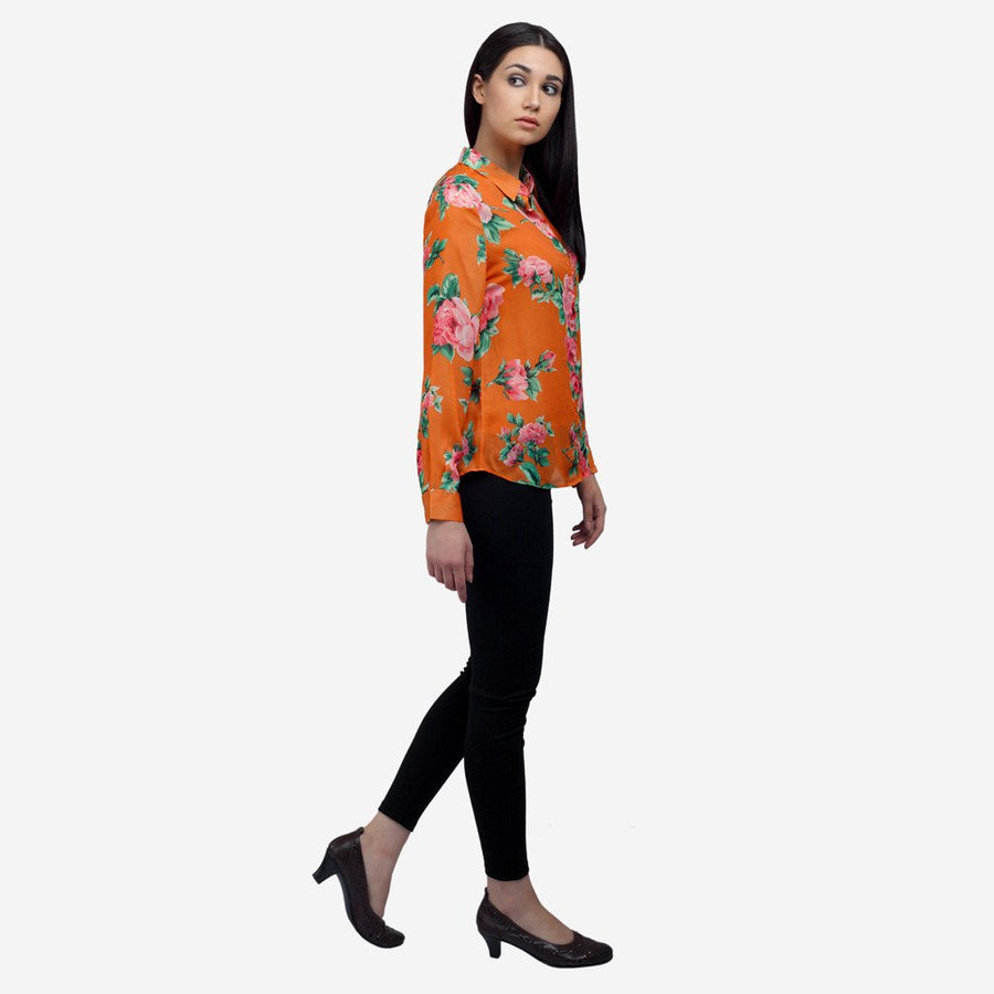 Ombré Lane Orange Printed silk full sleeve shirt, workwear, women's clothing,formal shirts for women  formal shirts for ladies  no gape no sheer shirts perfect womens shirt online luxury fabrics for women linen shirts for women giza cotton shirts for women white shirts for women luxury tops and shirts for women Designer Ladies' Shirts Online tailor fitted shirts for women womens shirts online non-sheer shirts for women white shirts for women Tailored Fits for women