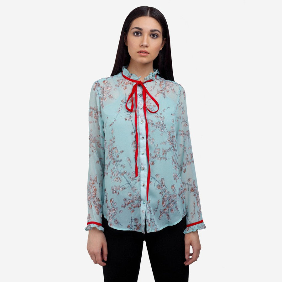 Light blue Printed georgette full sleeve work to evening wear shirt with ruffles and bow
