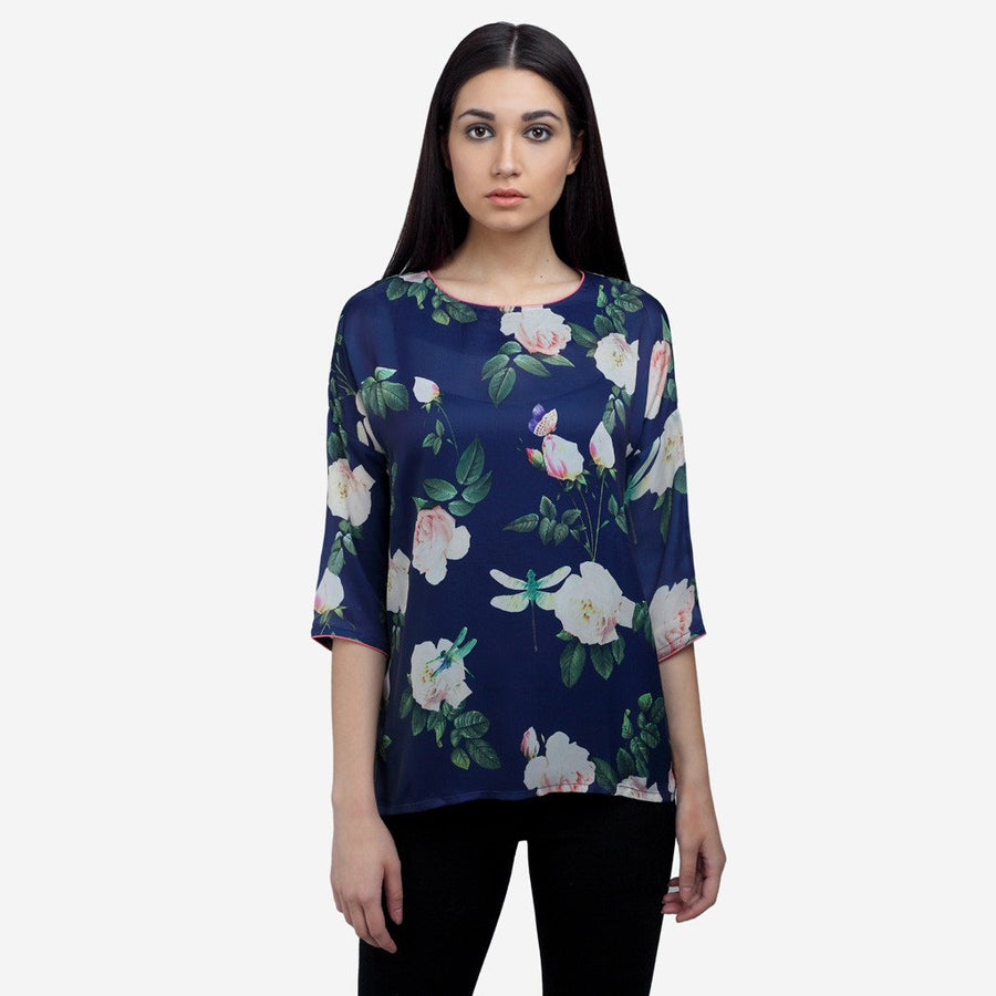 Boat neck printed blue silk office to evening wear blouse for women