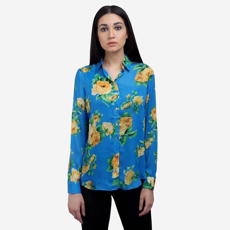 Blue Printed silk full sleeve evening wear shirt for women