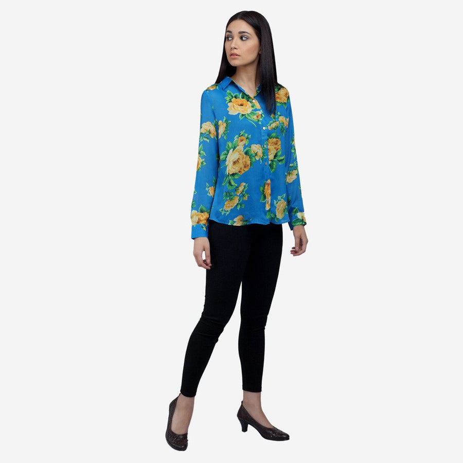 Ombré Lane Blue Printed silk full sleeve shirt, workwear, women's clothing, tops for women womens formal tops  Semi formal garments buy semi formal work clothes online luxury tops and shirts tops online for women cotton and linen tops silk tops dressy tops semi-formal work wear top no gape shirts and tops women tops Poly georgette tops Solid Layered tops Relaxed casual wear Chic Casual Wear long sleeve tops blouse tops in lace