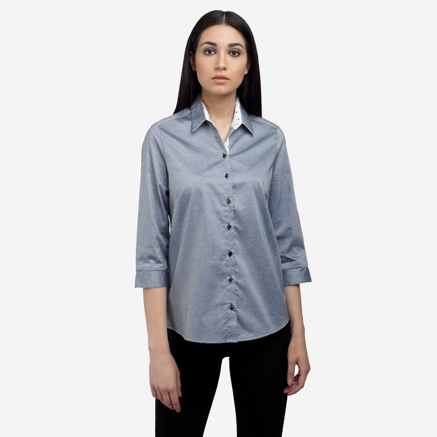 Ombré Lane Grey cotton 3/4th sleeve formal work shirt for women formal shirts for women  formal shirts for women  no gape/no sheer shirts perfect shirt online luxury fabrics linen shirts cotton shirts for women white shirts for women luxury tops and shirts Designer Ladies' Shirts Online tailor fitted shirts online non-sheer white shirts Tailored Fits ladies shirts no gape shirts and tops button-down shirt striped shirts check shirts for women