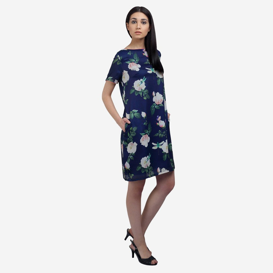 Printed blue silk knee length dress with side pockets and boat neck , workwear, women's clothing