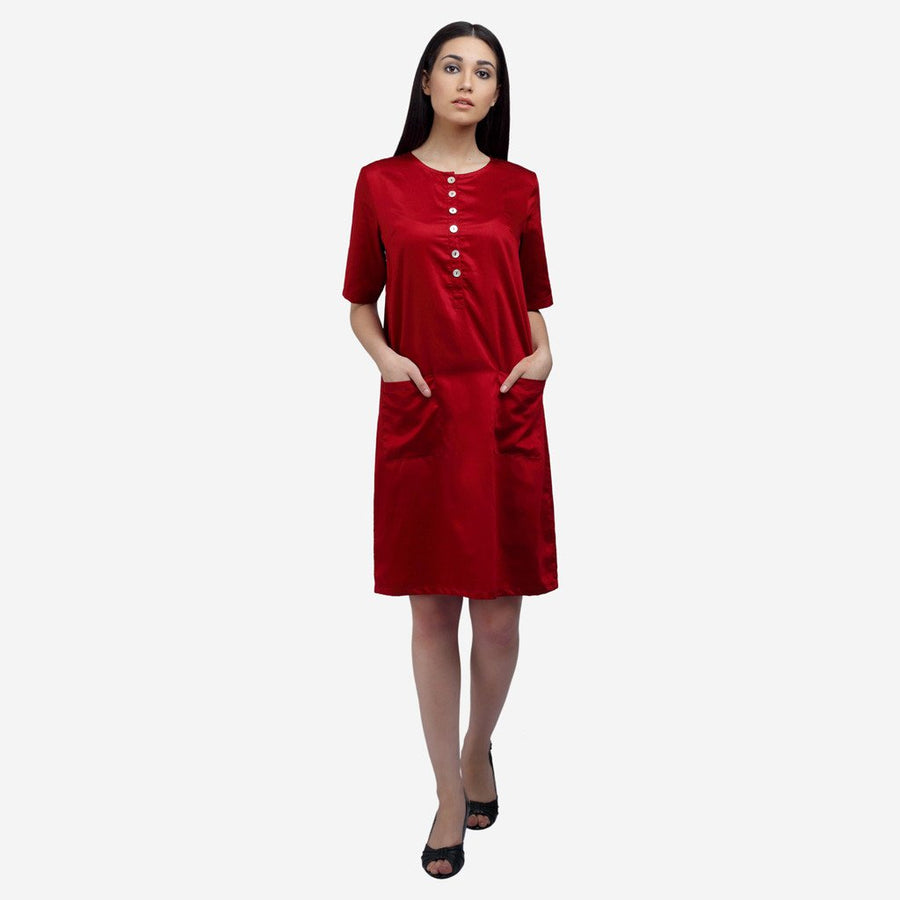 Maroon satin cotton knee length work dress with front pockets