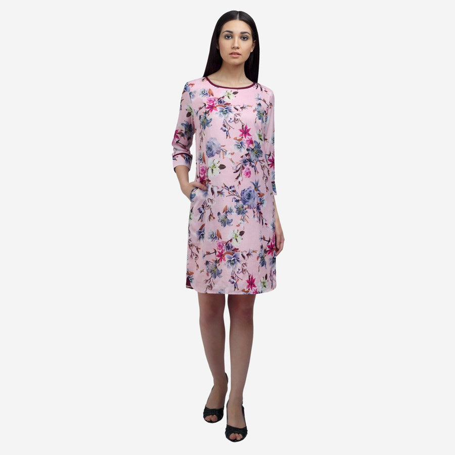 Boat neck printed pink cotton modal smart casual dress with 3/4th sleeves