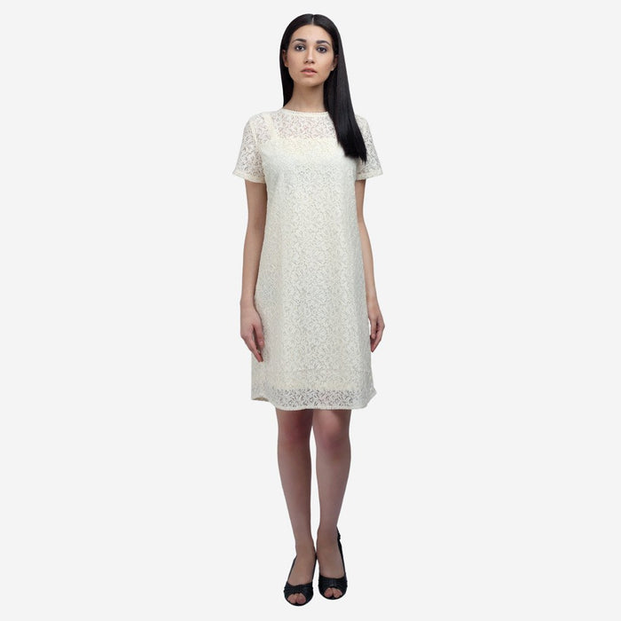 Off white cotton lace knee length formal dress