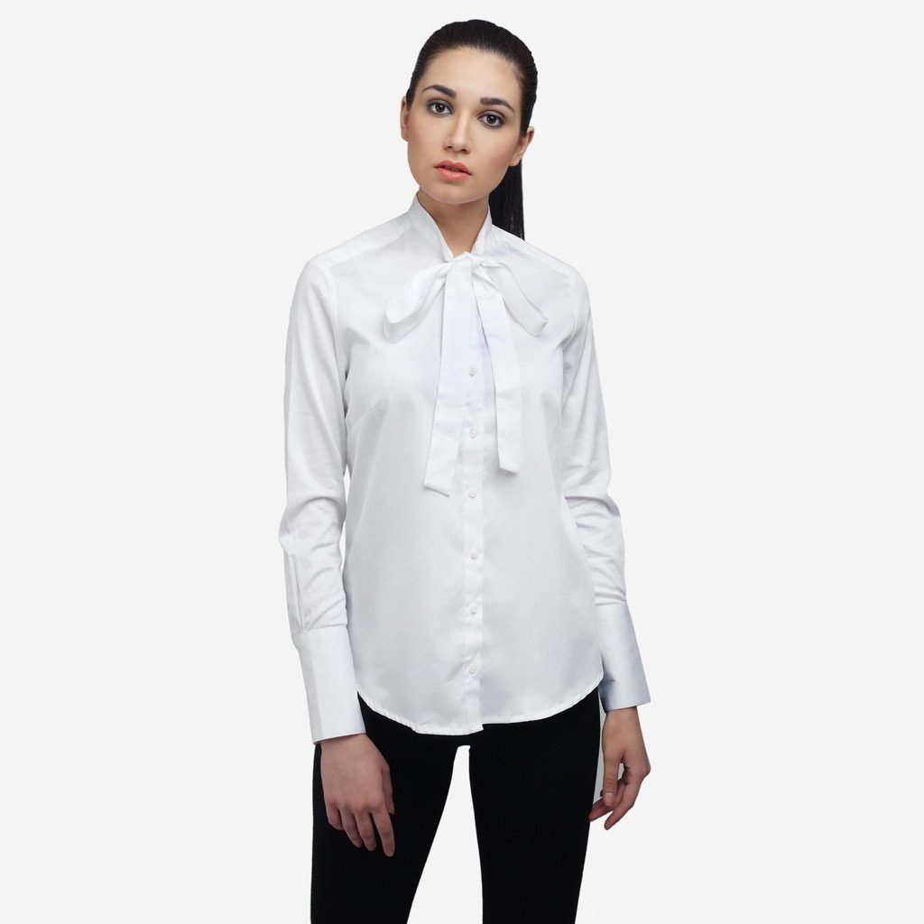 White Cotton Bow Tie Formal Shirt