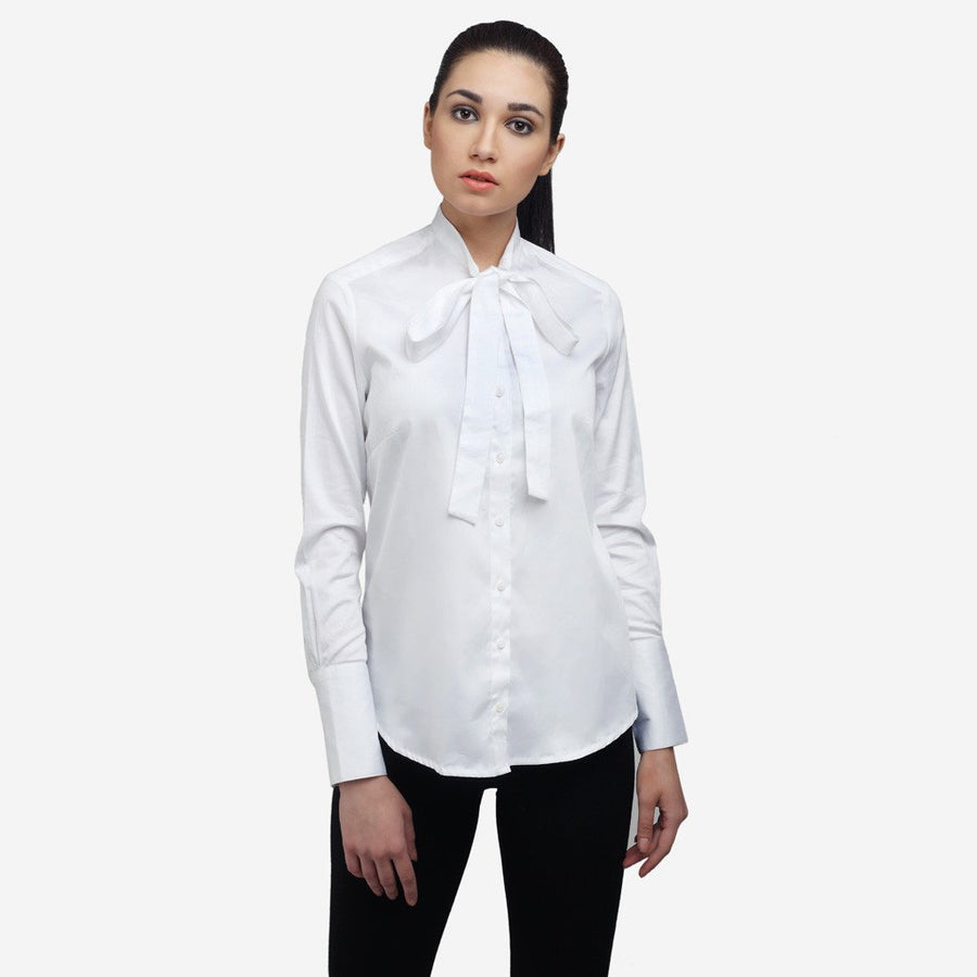 White satin cotton full sleeve office shirt with bow tie and long cuff for women