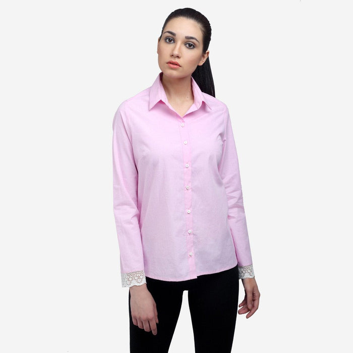 Formal Pink cotton full sleeve office shirt with lace cuff for women