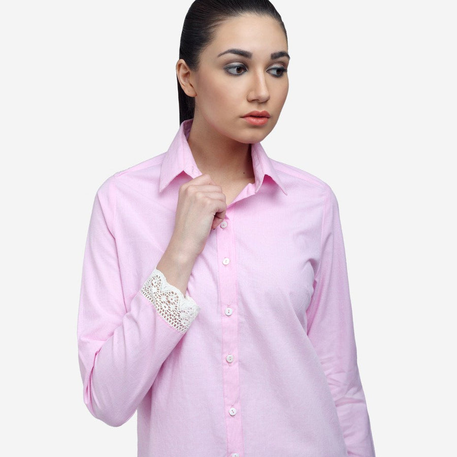 Ombré Lane Pink cotton full sleeve shirt with lace cuff, workwear, women's clothing, formal shirts for women  formal shirts for women  no gape/no sheer shirts perfect shirt online luxury fabrics linen shirts cotton shirts for women white shirts for women luxury tops and shirts Designer Ladies' Shirts Online tailor fitted shirts online non-sheer white shirts Tailored Fits ladies shirts no gape shirts and tops button-down shirt striped shirts check shirts for women
