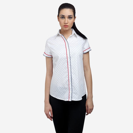 Printed White Cotton Short Sleeve Formal Shirt
