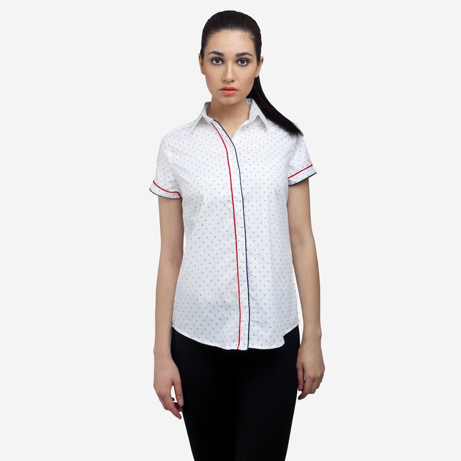 White cotton poplin short sleeve formal shirt with piping