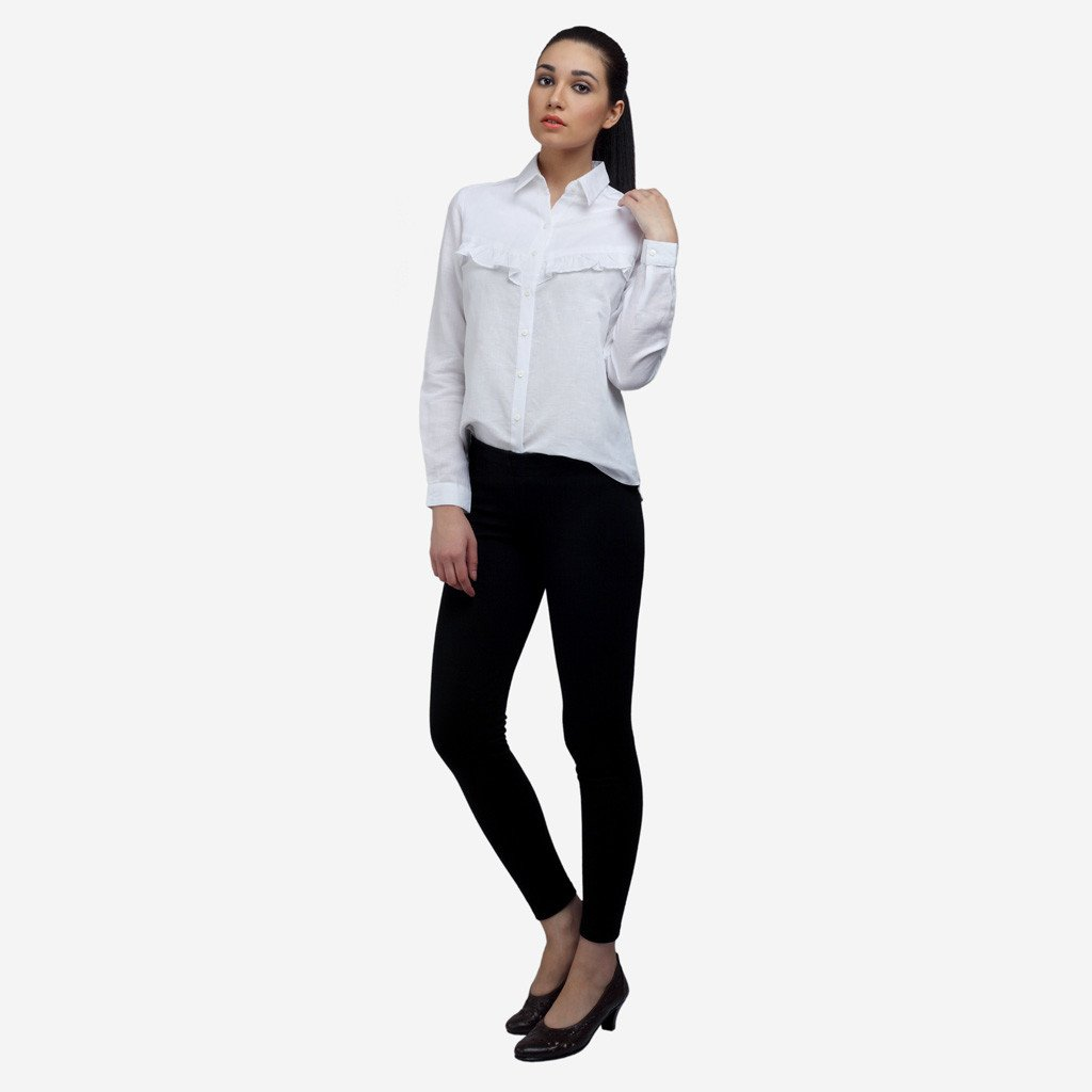White Cotton Linen Shirt with Front and Back Ruffles