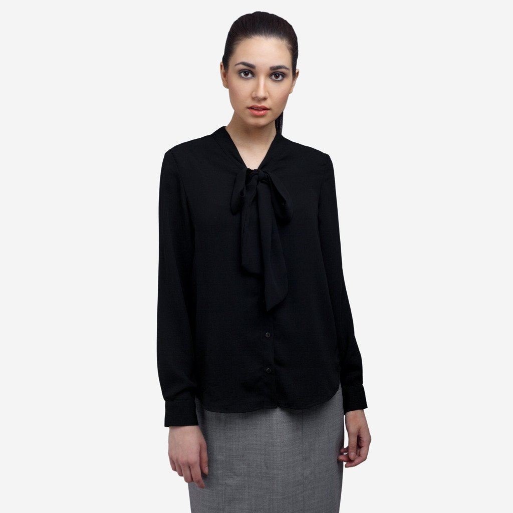 Black Luxe Georgette Bow-tie Formal Shirt