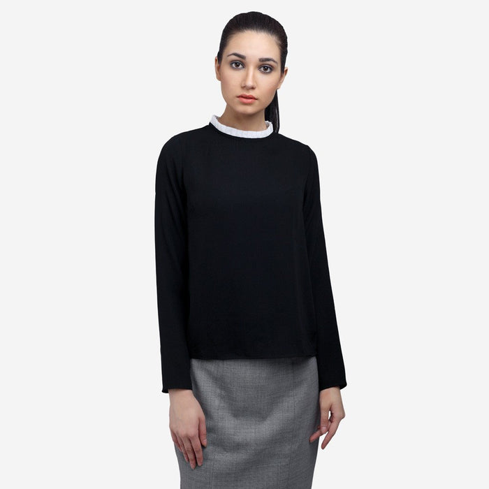 Black georgette full sleeve basic work top with white pleats at neck,