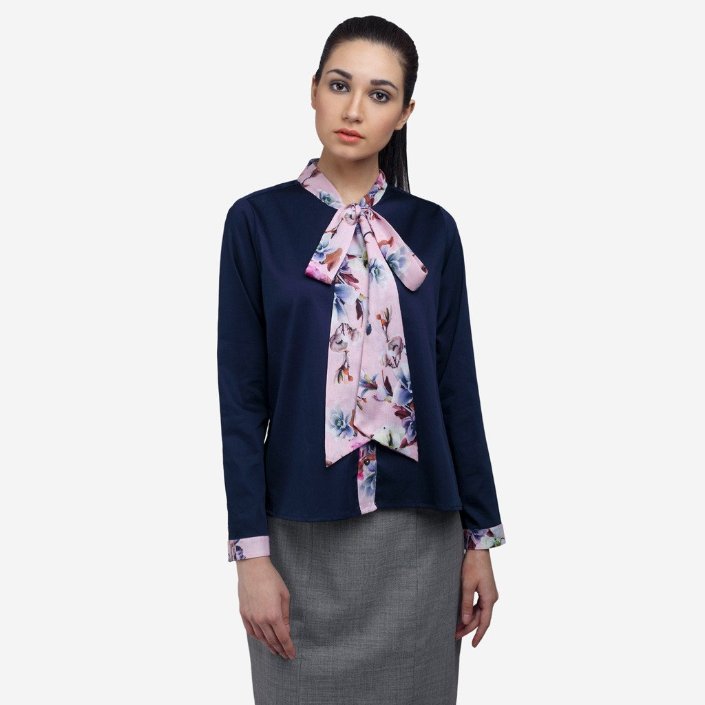 Navy Blue Crop Cotton Formal Shirt with Pink Bow-tie