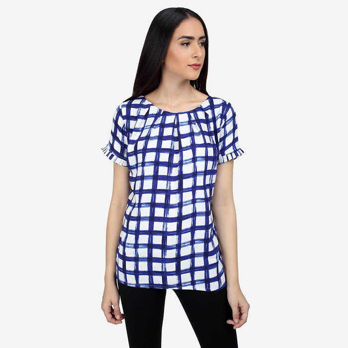 Ombré Lane Georgette Pleated Blue White Checks Formal Top  tops for women womens formal tops  Semi formal garments buy semi formal work clothes online luxury tops and shirts tops online for women cotton and linen tops silk tops dressy tops semi-formal work wear top no gape shirts and tops women tops Poly georgette tops Solid Layered tops Relaxed casual wear Chic Casual Wear long sleeve tops blouse tops in lace women's tops with long sleeves women tops online